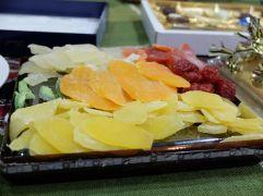 Le jeu des fruits secs ou deviner de quels fruits il s'agit. La liste des ingrédients ne correspondaient pas du tout avec le contenu de l'assiette...