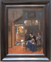 """Pierre de Hooch, """"Une femme préparant du pain et du beurre pour un garçon"""", 1660-1663"""