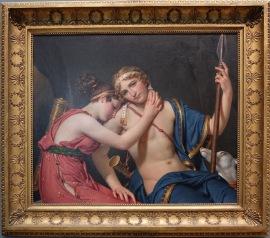 """Jacques-Louis David, """"Les adieux de Télémaque et d'Eucharis"""", 1818 : scène tendre entre la nymphe et un Télémaque qui doit partir à la recherche de son père..."""