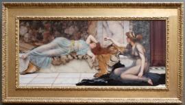 """John William Godward, """"Espièglerie et Repos"""", 1895 : plus léger, j'adore l'enchevêtrement de textures."""
