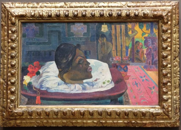 """Paul Gauguin, """"Arii Matamoe (la fin royale)"""", 1892 : je ne connaissais pas ce côté un peu macabre chez Gauguin."""