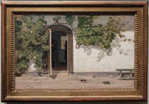 """Martinus Rørbye, """"Entrée d'un Inn (une auberge ?) dans le Praestegarden à Hillested"""", 1844"""