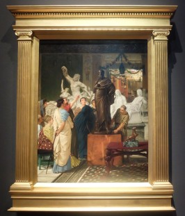 """Lawrence Alma-Tadema, """"Une galerie de sculpture à Rome à l'époque d'Auguste"""", 1867 : on voit que le peintre était passionné d'archéologie..."""