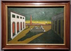 """Giorgio de Chirico, """"Place d'Italie"""", 1930 : délicieux clin d'oeil à la peinture de la Renaissance."""