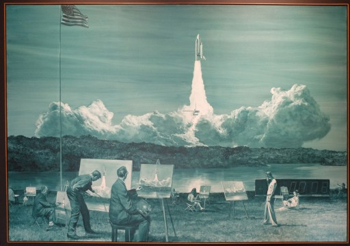 """Mark Tansey, """"Action Painting II"""", 1984 : avec un artiste californien ! Je trouve cette oeuvre très drôle en plus d'être très parlante, politiquement parlant."""