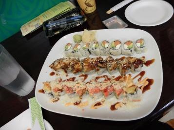 Plateau de sushis lors de notre seconde visite à Avina.