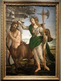 """Sandro Botticelli, """"Minerve et le Centaure"""", 1482 : nous avons passé beaucoup de temps devant ce tableau. Tout parle ! Ce serait bien trop long d'écrire ici toutes les subtilités de cette oeuvre, mais admirez cette Minerve qui, pour moi, est ici un vrai modèle féminin !"""