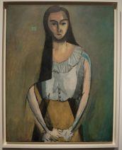 """Henri Matisse, """"La femme italienne"""", 1916 : un portrait de Laurette, un des modèles favoris du peintre, que j'aime beaucoup (malgré le malheureux reflet du panneau """"exit""""). Je ne sais pas pourquoi, mais il me rappelle un peu Mimi Thorisson du blog """"Manger"""" avec son air doux et réservé à la fois."""