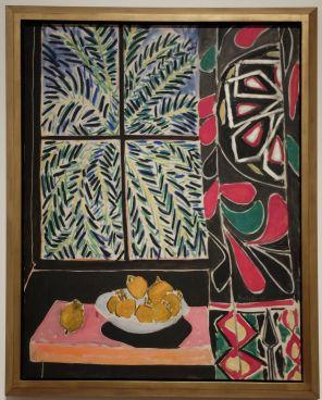 """Henri Matisse, """"Intérieur avec un rideau égyptien"""", 1948. Le tableau a été choisi pour illustrer l'affiche de l'exposition. On obtient quelque chose d'assez plat, mais les couleurs sont vraiment magnifiques !"""