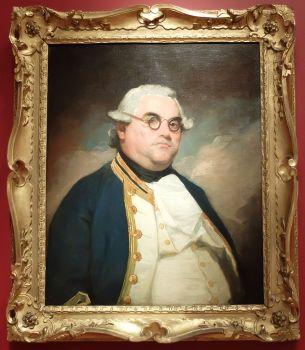"""Anonyme, """"L'Amiral Peter Rainier"""", 1778-1787 : je ne connais pas bien la peinture américaine alors j'essaie de m'y intéresser un petit peu. En regardant tous ces portraits, j'en retiens quelque chose d'un petit peu caricatural avec des personnages qui pourraient être parfaits pour une partie de Cluedo ou de Civilization. Bon, c'est juste mon impression générale !"""