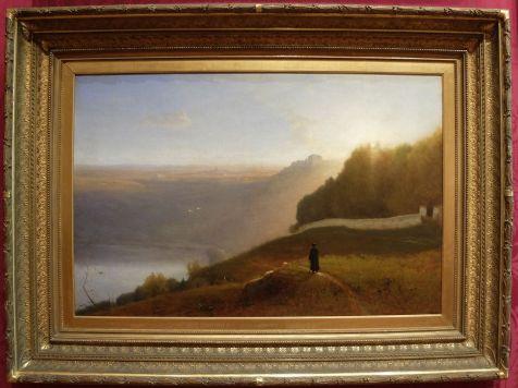 """George Inness, """"Paysage Italien"""", 1872 : mon grand coup de coeur ! J'aime tout dans ce tableau, le point de vue, la lumière dans cette espèce de brume entre le jour et la nuit, les discrets petits oiseaux, le promeneur au milieu. Paysage italien, mais qui me rappelle un peu l'ambiance d'Orgueil & Préjugés (la version de 2005)."""
