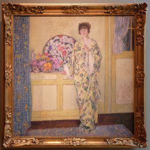"""Frederick Carl Frieseke, """"La Chambre Jaune"""", 1910 : l'impressionnisme à l'américaine, et surtout, toujours cet irrésistible japonisme."""
