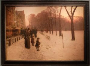 "Childe Hassam, ""Le crépuscule (Boston Common à l'aube)"", 1885-1886 : mon cliché bostonien."