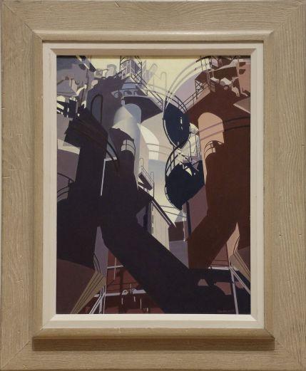"""Charles Sheeler, """"Ore into Iron"""", 1953. Adapté de photographies d'une usine d'acier à Pittsburgh, ce tableau (peint !) a un rendu architectural proche d'une oeuvre de science-fiction."""