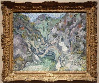 """Vincent Van Gogh, """" Ravin"""", 1889 : bon, j'aime le rendu général qui est vraiment sublime, il n'y a aucun doute là-dessus. Cependant, j'ai l'impression de voir une espèce d'animal dans le coin inférieur droit (une espèce de rongeur qui louche) et du coup, j'ai beaucoup de mal à garder mon sérieux !"""