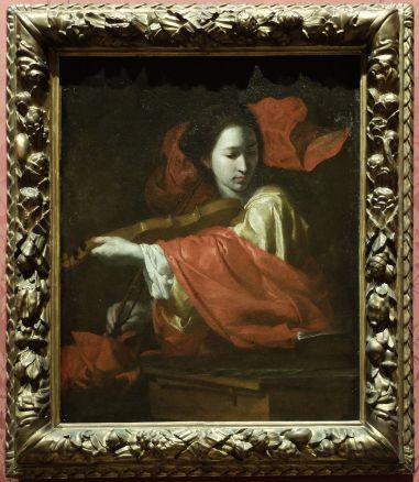 """Bernardo Cavallino, """"Sainte Cécile"""", 1645. Une allégorie de la musique dans un jeu de couleurs blanc fantôme et rouge sang tout à fait fantastique. Le début d'un conte ?"""