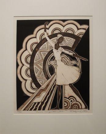 """Eldzier Cortor, """"Dance Composition n° 34"""", 1970. Plusieurs oeuvres de l'artiste étaient exposées dans le musée et je n'en ai sélectionné qu'une seule. Je trouve qu'il illustre certes la danse, mais aussi la musique !"""