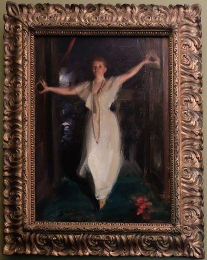 """Anders Zorn, """"Isabella Steward Garner at Venice"""", 1894 : j'aime ce portrait d'Isabella, encore plus que celui de John Singer Sargent. D'après le journal de son mari, elle apparaît ici au Palais Barbaro et vient appeler ses amis à regarder le feu d'artifice qui se déroule dehors. """"Come out - all of you. This is too beautiful to miss"""". Portrait vivant, empreint de naturel, il a le charme d'une photo prise à la volée."""
