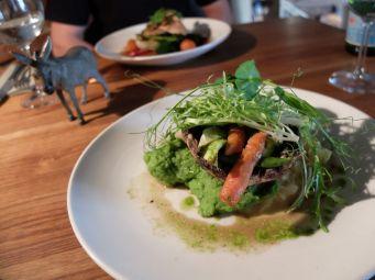 Plat végétarien pour moi, avec du champignon portobello, un des rares produits que j'ai découvert (et adoré) aux Etats-Unis.