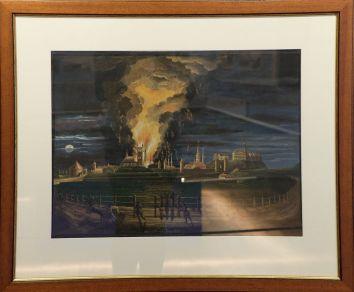 """Johannes Hau, """"L'incendie de l'église de St Olaf"""", 1820. Y aurait-il un clin d'oeil à Pierre-Henry de Valenciennes et son tableau représentant l'éruption du Vésuve ? Au moins, disons que ce genre de paysage dramatique était très en vogue au début du 19e siècle..."""