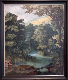 """Anonyme à la manière de Chris van Conixloo, """"Paysage avec scènes de l'enfance du Christ"""", première moitié du XVIIe siècle. Un petit air tropical, non ?"""