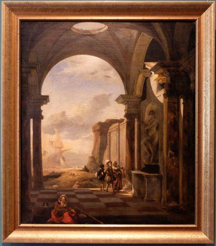 """Jean Baptist Weenix I, """"Scène portuaire italienne"""", 1650. Malgré le titre, c'est l'architecture, la sculpture et par extension, la peinture qui sont mises en valeur !"""