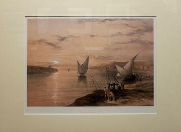 """David Roberts, """"Hadjar Silsilis"""", 1847 : il s'agit d'une lithographie représentant Hadjar Silsilis, une carrière de pierre au bord du Nil."""