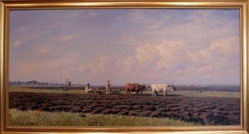 """Mihhail Clodt von Jürgensburg, """"Laboureurs en Ukraine"""", 1879. La forte horizontalité du tableau met plutôt bien en valeur l'espèce de langueur qui se dégage de cette scène."""