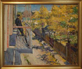 """Sergei Vinogradov, """"Vue de la banlieue"""", 1918. Le point de vue choisi et le sens de la couleur m'ont charmée ! Si vous fouinez un peu sur le net, ses oeuvres valent vraiment le coup d'oeil. J'ai beaucoup aimé """"Intérieur"""" (1913) avec ses miroirs et ses touches bleutées données par les vitres."""