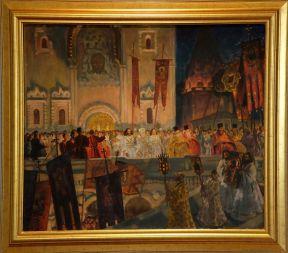 """Boris Kustodijev, """"La Veillée Pascale"""", 1917. Je mets ce tableau, car Jérémy et moi ne partagions pas le même avis sur cette oeuvre. J'appréciais le mélange des couleurs, mais Jérémy le trouvait trop flou, un peu grossier au niveau du dessin."""