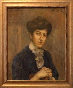 """Kuzma Petrov-Vodkin, """"Portrait de la femme de l'artiste"""", 1906. Je suis toujours fascinée par ces portraits de femmes-muses : là, si nous avions encore quelques doutes, l'esquisse au second-plan nous rappelle le rôle de modèle de cette femme. Il y a ce petit côté """"The Lion's Song"""" du fait de montrer plusieurs facettes d'une personne qui ne me déplaît pas."""