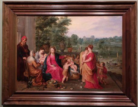 """Hendrick van Balen, """"La Sainte Famille dans un jardin"""", XVIe siècle : et c'est bien ce charmant jardin qui m'intéresse. Relayé au second plan, il est pourtant assez détaillé et offre une symbolique assez pertinente (le Paradis, la noblesse, la Vierge, etc.)"""