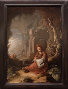 """Van Staveren, """"Un philosophe dans un paysage"""", milieu du XVIIe siècle. Ce philosophe me fait penser à un alchimiste ou un sorcier. Le décor brumeux, l'arbre dénudé et la végétation formant un cadre un peu sombre autour du philosophe donne l'impression d'être dans un conte de fée un peu gothique (avec quelques décennies d'avance)."""