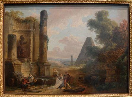 """Hubert Robert, """"La Fontaine de Minerve à Rome"""", 1772 : Encore un tableau reflétant bien la mode des jardins de style irrégulier et des fabriques qui se diffuse au XVIIIe siècle."""