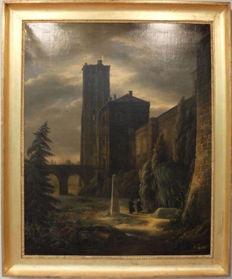 """François-Alexandre Pernot, """"Les Fossés de Vincennes en 1815"""", 1822. Même impressions que le tableau d'Hubert Robert, la touche romantique en plus."""