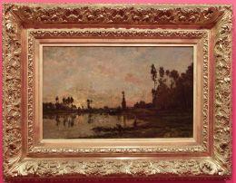 """Charles-Francois Daubigny, """"Coucher de soleil sur l'Oise"""", 1865. Il s'agit d'un peintre issu de l'Ecole de Barbizon, un courant de peinture s'exprimant à travers le thème de la nature : des paysages, des scènes rurales ou forestières."""