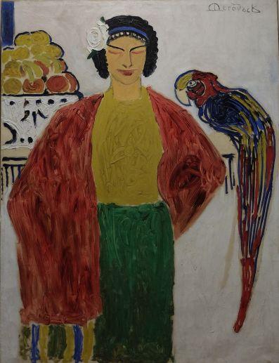 """Alexis Mérodack-Jeaneau, """"La Créole au Perroquet"""", 1910. Il s'agit d'un tableau récemment restauré. Je l'ai mis ici, car nous en avons eu un aperçu lorsque nous étions au Musée des Sciences Naturelles d'Angers. La texture de la peinture ressemble à un gribouillage, mais ce côté brut fait tout le charme de cette oeuvre."""
