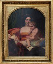 """Paul Delaroche, """"L'enfance de Pic de la Mirandole"""", 1842. La tendresse de la mère et l'amusante posture concentrée de l'enfant en font un tableau assez attachant."""
