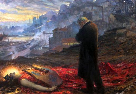 """Georges-Antoine Rochegrosse, """"La Mort de la Pourpre"""", 1914. Un tableau d'autant plus bouleversant qu'il a été présenté au Salon quelques semaines avant le début de la Première Guerre mondiale."""