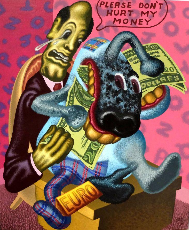 """Peter Saul, """"Please don't hurt my money"""", 2005. Cinglant de crédibilité."""