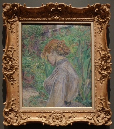 "Henri de Toulouse-Lautrec, ""Red-Haired Woman in the Garden of M. Foret"", 1887. L'orientation de ce portrait est tout à fait fascinante."