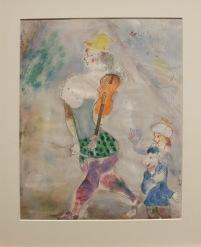 « Clown Playing the Violin », 1941-1942 : toujours ce violon qui suit Chagall un peu partout et le thème du cirque qui véhicule l'idée d'un humour simple et franc.