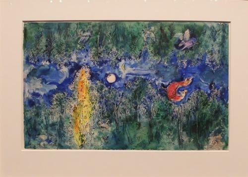 """""""Backdrop design for 'The Firebird': Enchanted Forest (Scene I)"""" : ces couleurs ! ce mouvement de l'eau ! cet arbre illuminé ! Je crois bien qu'il s'agit de mon fond de décor préféré…"""
