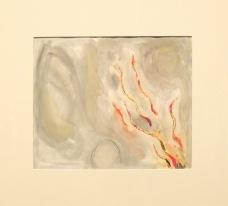 """""""Design for Backdrop for 'The Magic Flute': The Trial by Fire (Act II, Scene XXVIII), 1966-67 : d'apparence plus simple et pourtant, en y regardant de plus près, on aperçoit des collages, des visages cachés dans les volutes de gris…"""
