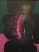 """Ladislas Kijno, """"Papeari (série """"Retour de Tahiti"""")"""", 1990 : des couleurs franches et surtout, ce jaune qui donne l'impression qu'il y a un reflet alors que les couleurs sont mates."""