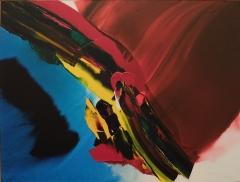 """Paul Jenkins, """"Phenomena Deep in Cardinal Shade"""", 1999 : peut-être mon oeuvre préférée, qui ressemble à un bel oiseau exotique."""
