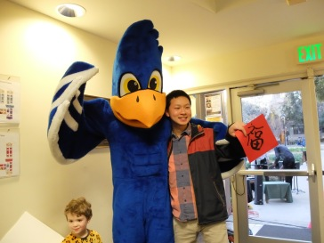Bob avec Cecil, la mascotte de Pomona !
