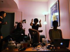 Jason, Kathryn et moi, en ombres chinoises.