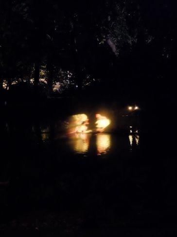 Des formes lumineuses sortent de l'eau