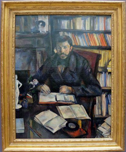 """Paul Cézanne, """"Gustave Geoffroy"""", 1895-1896. Après avoir étudié Cézanne pendant un semestre, je pense qu'il est devenu un de mes peintres favoris.Tout me parle dans cette oeuvre : le cadrage, le sujet, les objets, la manière dont ils sont agencés, etc. J'aurais bien voulu en écrire l'analyse."""